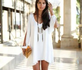 Long-sleeved chiffon dress