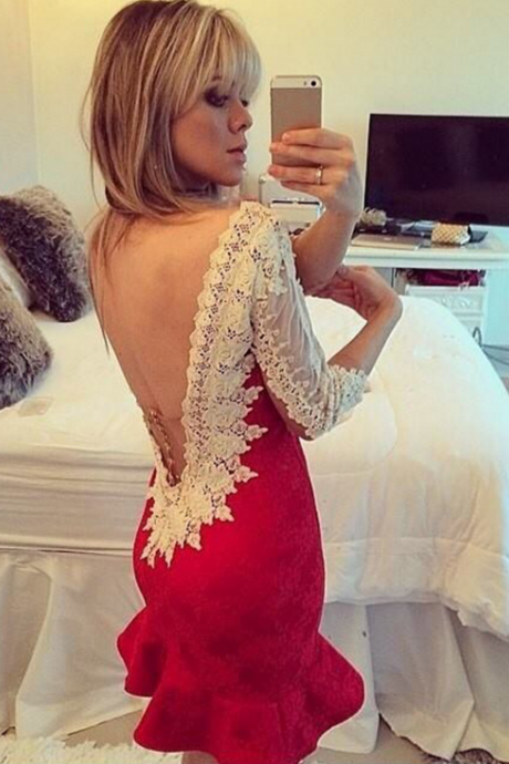 Sexy backless lace dress