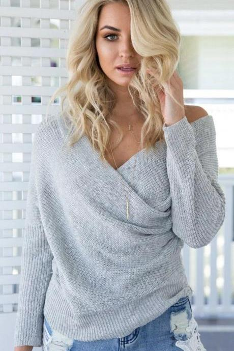 Crossover v-neck sweater sweater