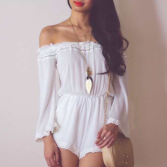 White Crochet Lace Off-The-Shoulder Long Sleeved Romper