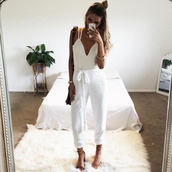 White Plunge V Strappy Jumpsuit Featuring Rope Accent