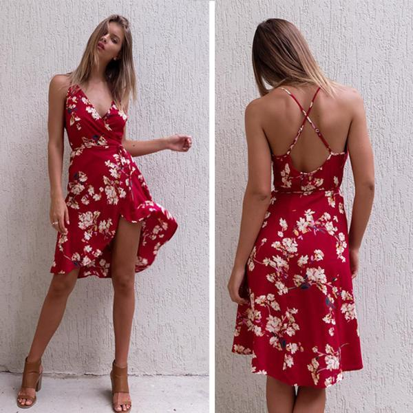 Red Floral Print Plunge V Sleeveless Short Wrap Dress Featuring Criss-cross Back